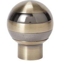GoodHome Antiki Antique brass effect Metal Ball Curtain pole finial (Dia)28mm