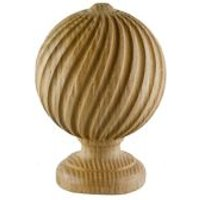 GoodHome Symi Wood Stripped Curtain pole finial (Dia)28mm