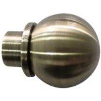 GoodHome Antiki Antique brass effect Metal Ball Curtain pole finial (Dia)19mm