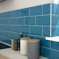 Trentie Petrol blue Bevelled edge Ceramic Wall tile  Pack of 40  (L)200mm (W)100mm