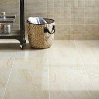 Travertina Beige Matt Stone effect Porcelain Floor tile of 9  (L)400mm (W)400mm