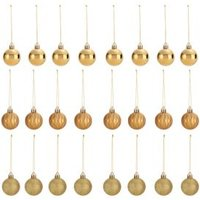 Assorted Gold effect Baubles  Pack of 24