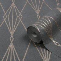 GoodHome Ajuga Charcoal Art deco Rose gold effect Textured Wallpaper