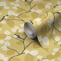 GoodHome Mahot Yellow Modern Wallpaper