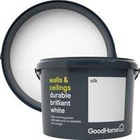 GoodHome Durable Brilliant white Silk Emulsion paint 2.5L