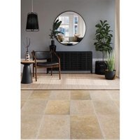 Real Tumbled Travertine Cream Natural stone Floor tile  Pack of 3  (L)406mm (W)610mm