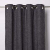 Novan Dark grey Plain Unlined Eyelet Curtain (W)167cm (L)228cm  Single