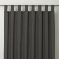 Chambray Grey Plain Unlined Tab top Curtain (W)167cm (L)183cm  Single