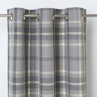 Podor Grey Check Unlined Eyelet Curtain (W)167cm (L)183cm  Single