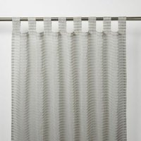 Tolok Grey Horizontal stripe Unlined Tab top Voile curtain (W)140cm (L)260cm  Single