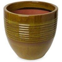Tiwlip Round Glazed Green Pot (H)310mm (Dia)330mm