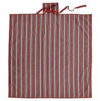 Rural Blue  grey & red Striped Plain Picnic mat