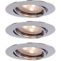 Chrome effect LED Adjustable Recessed downlight 3.8 W IP20  Pack of 3