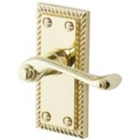 Louga Polished Brass effect Internal Scroll Latch Door handle  Pair of 3