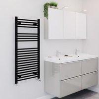 Blyss 489W Matt Black Towel warmer (H)1100mm (W)500mm