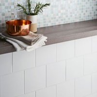 Leccia White Gloss Ceramic Wall tile  Pack of 44  (L)150mm (W)150mm