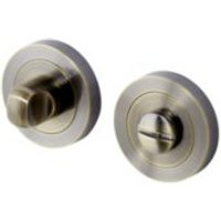 Caspe Antique Brass effect Internal Bathroom Bathroom turn & release lock  Pair
