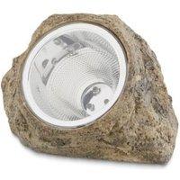 Grey Solar powered LED Solar outdoor rock lamp