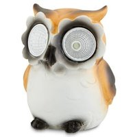 Painted Brown and white Owl Solar-powered LED External