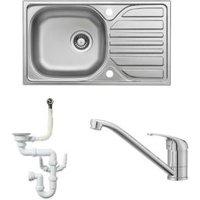 Cooke & Lewis Hewish 1 bowl Satin Stainless steel Sink  Tap & Waste Kit