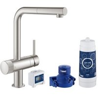 Grohe Blue Pure Supersteel Stainless steel effect Kitchen Side lever pull out Tap