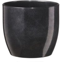 Basel Round Glazed Black Brushed Plant Pot (H)260mm (Dia)270mm