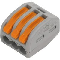 Wago 222 series Grey 32A 3 way In-line wire connector Pack of 50.