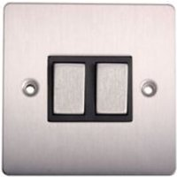 Holder 10A 2 way Brushed stainless steel effect Double Light Switch