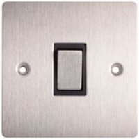 Holder 10A Single Brushed Steel Intermediate Switch