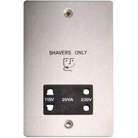 Holder Flat Screwed Brushed Steel 115/230V Dual Voltage Shaver Socket