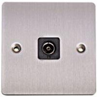 Holder Flat Screwed Screwed Brushed Steel Metal Single Coaxial Socket