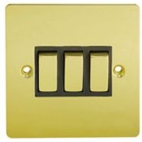 Holder 10A 2 way Polished brass effect Triple Light Switch