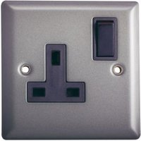 Volex 13A Pewter Switched Single Socket