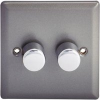 Holder 2-Way Double Pewter Dimmer Switch