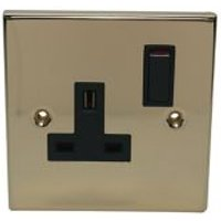 Volex 13A Brass effect Single Switched Socket