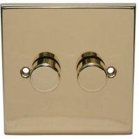 Holder 2-Way Single Polished Brass & Gold Effect Dimmer Switch