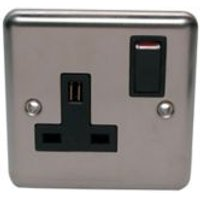 Volex 13A Stainless steel effect Single Switched Socket