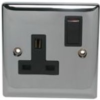 Volex 13A Chrome effect Single Switched Socket