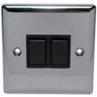 Holder 10A 2 way Polished chrome effect Double Toggle Switch