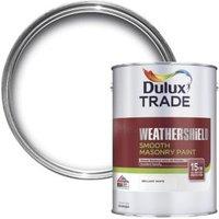 Dulux Trade Weathershield Pure brilliant white Smooth Masonry paint 5L