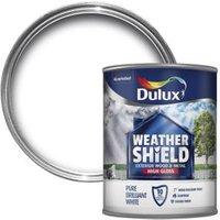 Dulux Weathershield Pure brilliant white Gloss Wood & metal paint 0.75L