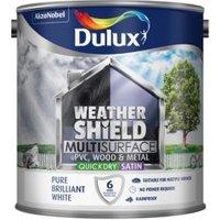 Dulux Weathershield Exterior Pure brilliant white Satin Paint 2.5L