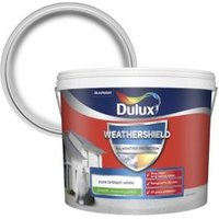 Dulux Weathershield Pure brilliant white Smooth Matt Masonry paint 10L