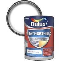 Dulux Weathershield All weather protection Pure brilliant white Textured Matt Masonry paint  5L