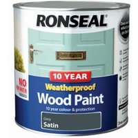 Ronseal Grey Satin Wood paint 2.5L