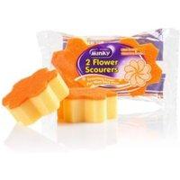 Minky Flower Sponge Scourer Pack of 2
