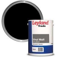 Leyland Trade Black Matt Emulsion paint 5L