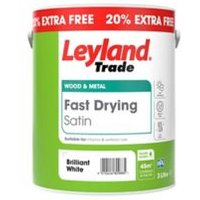 Leyland Trade Fast drying Pure brilliant white Satin Metal & wood paint 3L