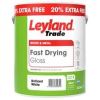 Leyland Trade Fast drying Pure brilliant white Gloss Metal & wood paint 3L