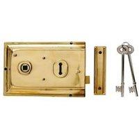 Yale 43mm Polished Brass effect Metal Rim lock  (H)104mm (L)156mm